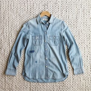 New Madewell Denim Chambray Distressed Button Down
